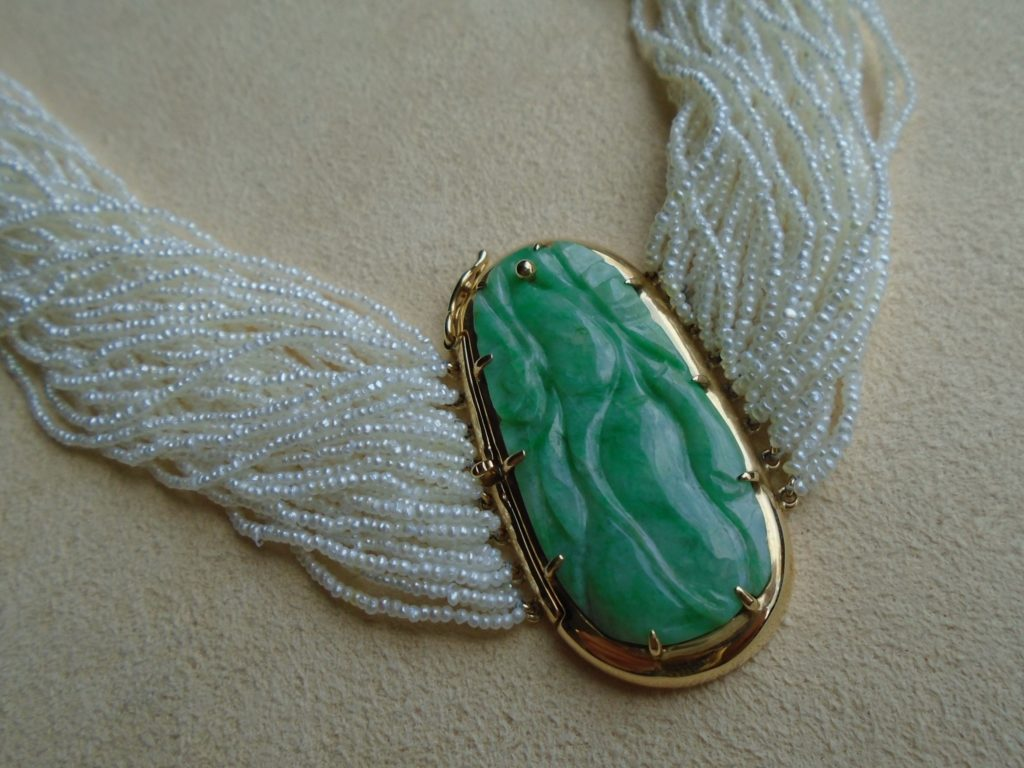 Jade and Keishi Pearl Strand Necklace