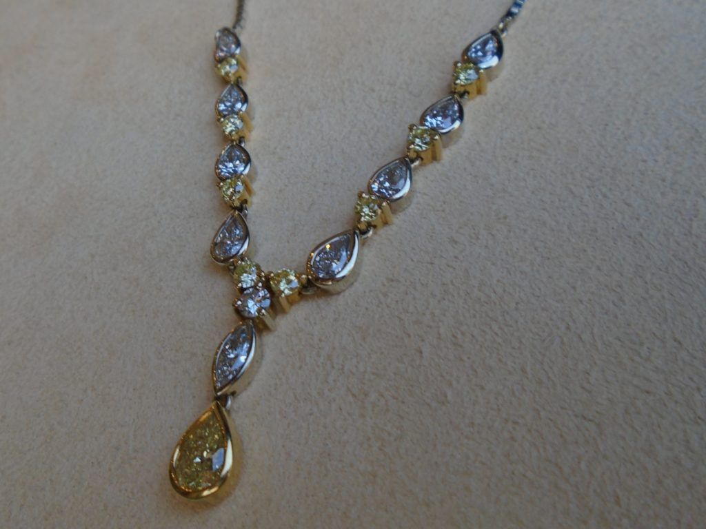 Pear-Shaped Diamond Box Chain Necklace