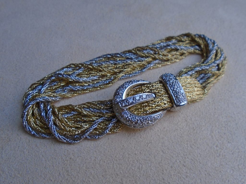 18kt. Two Tone Braided Rope Chain Buckle Bracelet