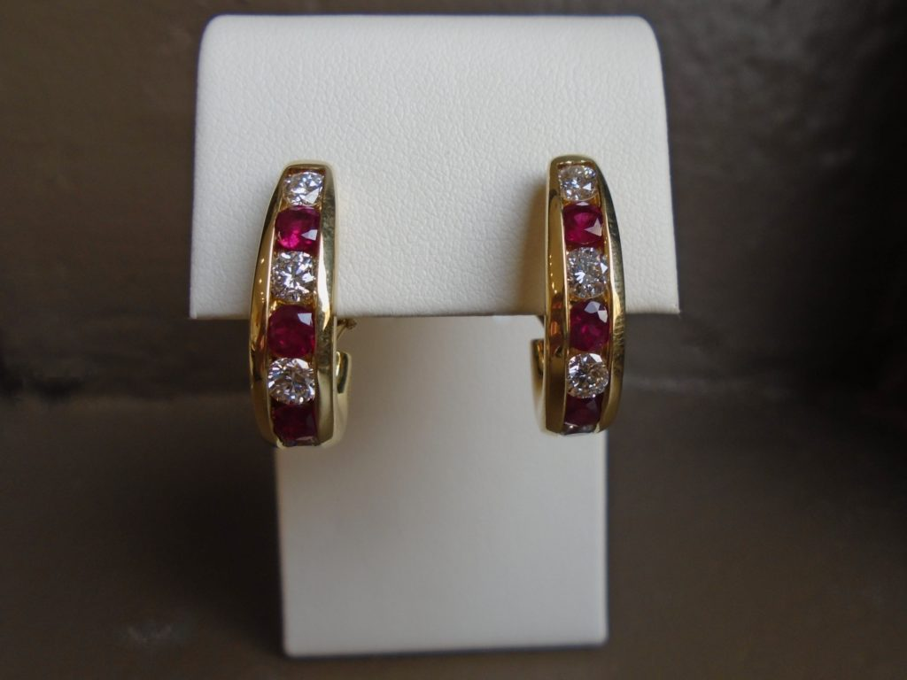 Gold, Diamond, and Ruby Earrings