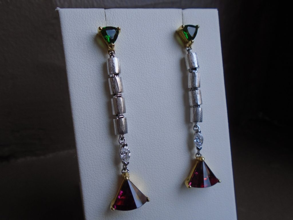 Rhodalite Garnet & Tourmaline Wire Earrings